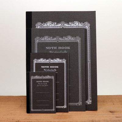Vintage black notebooks come in six colors and 4 sizes: tiny, small, medium, and large.