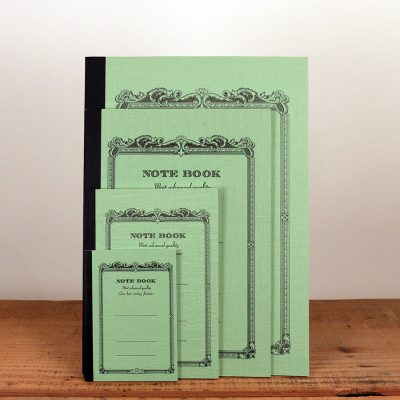 Vintage green notebooks come in six colors and 4 sizes: tiny, small, medium, and large.
