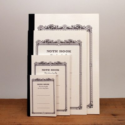 Vintage white notebooks come in six colors and 4 sizes: tiny, small, medium, and large.