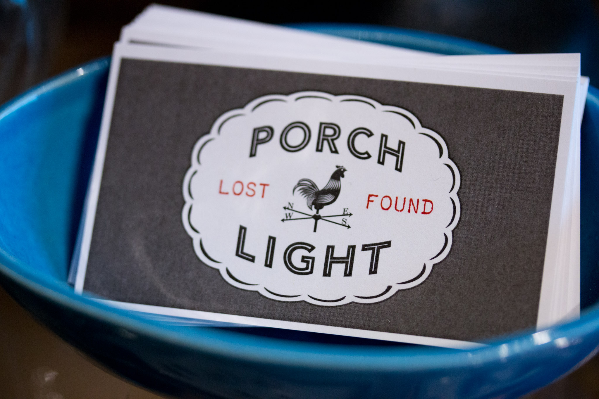 Porch Light Lost Found Logo Business Cards in Portland, OR - Porch Light