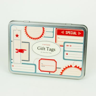 Charming vintage style gift tags with red and white strin