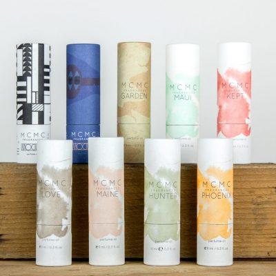 Roller ball fragrance oils by MCMC including: Maui, Kept, Garden, Phoenix, Maine, Love, Hunter