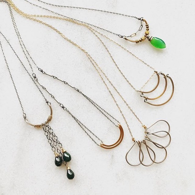This Saturday along with our letter writing event we will be showcasing the lovely work of @amyolsonjewelry Stop by and meet the artist herself from 1-5 and pick out something special for yourself or your sweetie.
