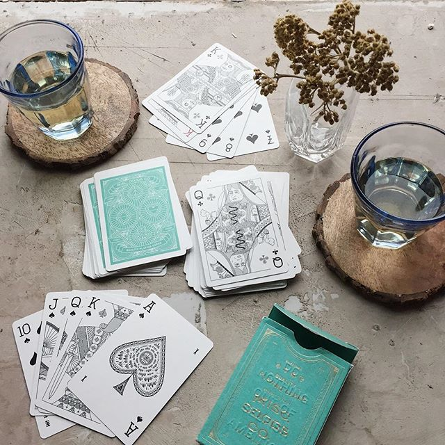Friday night plans? We've got fancy cocktails and poker on our minds!  Sweet card decks by @misc_goods_co.  Also available in white, black and red!