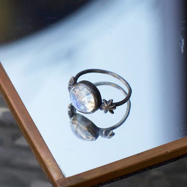 One of our favorites from one of our favorites @acanthusjewelry . Oxidized sterling silver and moonstone.