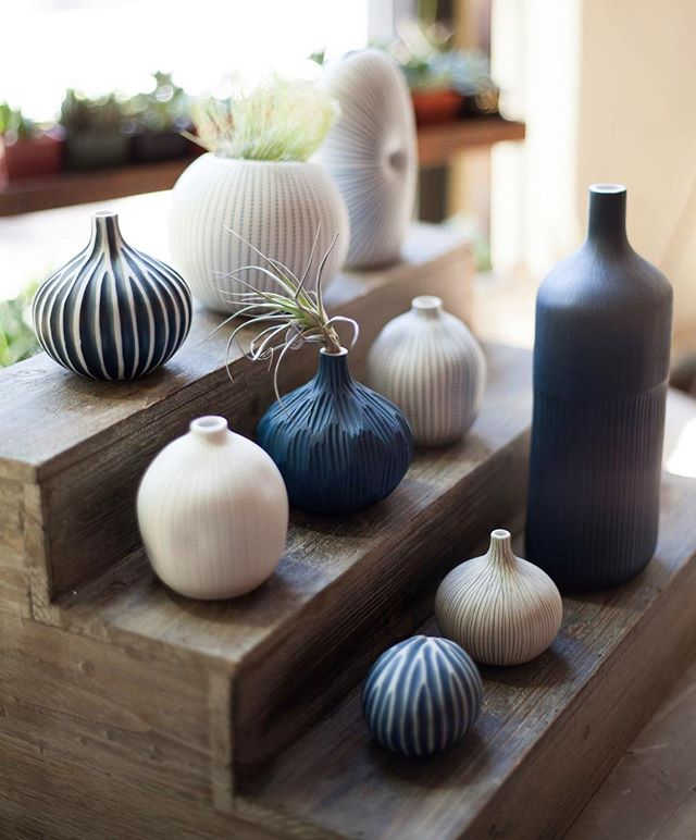 We are fully restocked with our favorite porcelain vases. Perfect as an airplant or a tiny bouquet holder. So many patterns and shapes to play with!