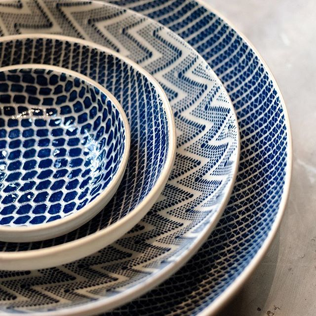 Still lots of Terrafirma ceramics left in the shop! We love to mix and match the patterns and textures of these indigo bowls.