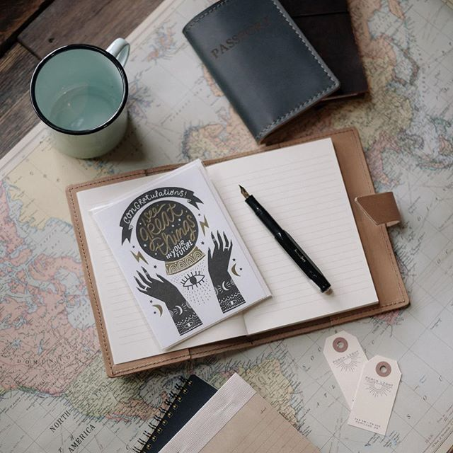 We are dreaming about future adventures on this gloomy day. New leather travel essentials like passport covers and refillable notebooks definitely come in handy on the road.