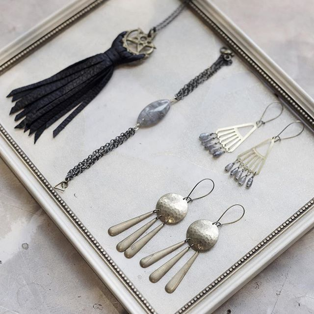 Just a few pieces of the lovely jewelry that Jess McCloskey will be showing this Saturday at our Local Artist Holiday Popup.  Stop by between 1 and 4 to meet Jess and pick out your new favorite necklace!