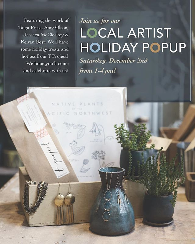 Please join us this Saturday, December 2nd, from 1-4 for our local artist holiday pop-up.  We will be featuring jewelry by @amyolsonjewelry  letterpress paper goods by @taigapress jewelry by our own Jesseca McCloskey and ceramics by owner Keiran Best. We will also be serving up treats, bubbles and lovely teas from @tprojectshop .  Stop on by!