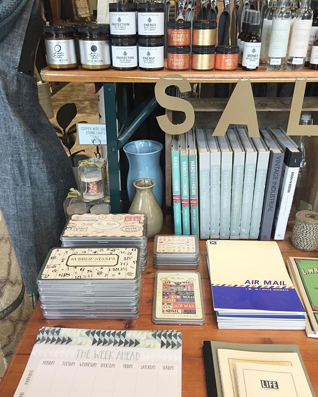 We still have lots of great things left on our SALE table and we just marked it down even more.  Everything is 40-50% off.  Candles, apothecary products, stationery, jewelry and more.  Stop in this weekend and snap it up before it's gone.