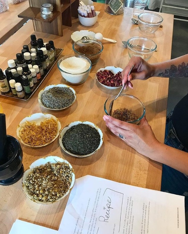 @kore.herbal drop in Sugar Scrub bar is open from 1 - 3pm today.  Stop by the shop and make your very own custom scrub with all natural sugar, oils, flowers and herbs.