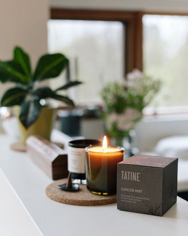 The scent of fresh summer herbs in this candle by Tatine. We couldn't resist it and took one of them home already  Stop by today to get yours!