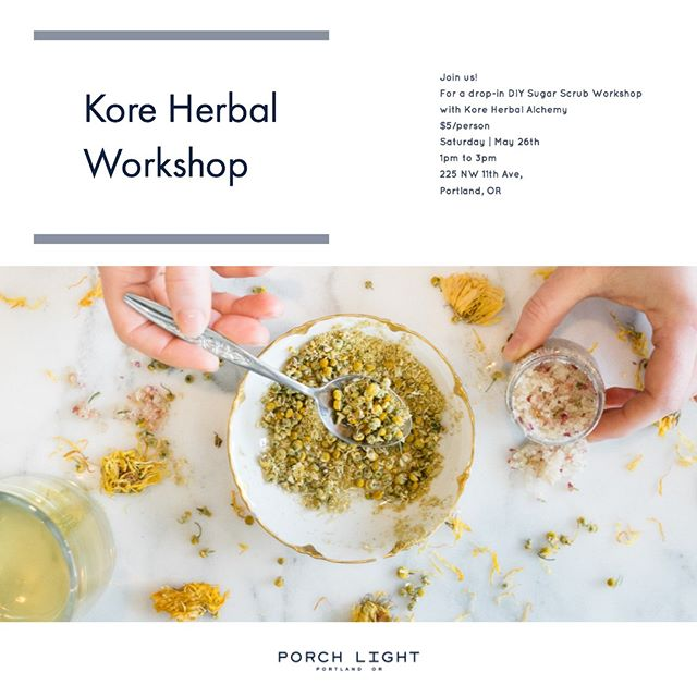We are happy to host a drop-in DIY Sugar Scrub Workshop with @kore.herbal Stop by the shop next Saturday, May 26th from 1-3 pm. Only $5/person and you will leave with your own 2oz creation!