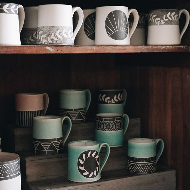 Are you a tea of coffee person? Or both?  We have so many great @jessicawertzceramics in the shop right now! Come and find your new favorite mug.