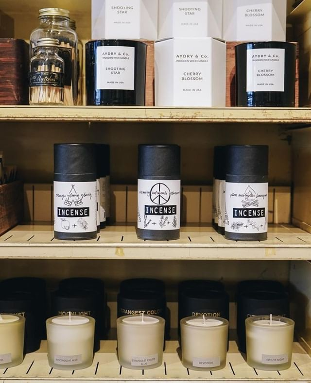 Our monochromatic shop corner is full of great candles and new incense cones just in time for chilly winter days.. . . . . .