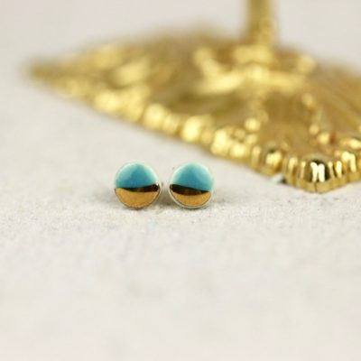 tiny pebble studs in teal and gold