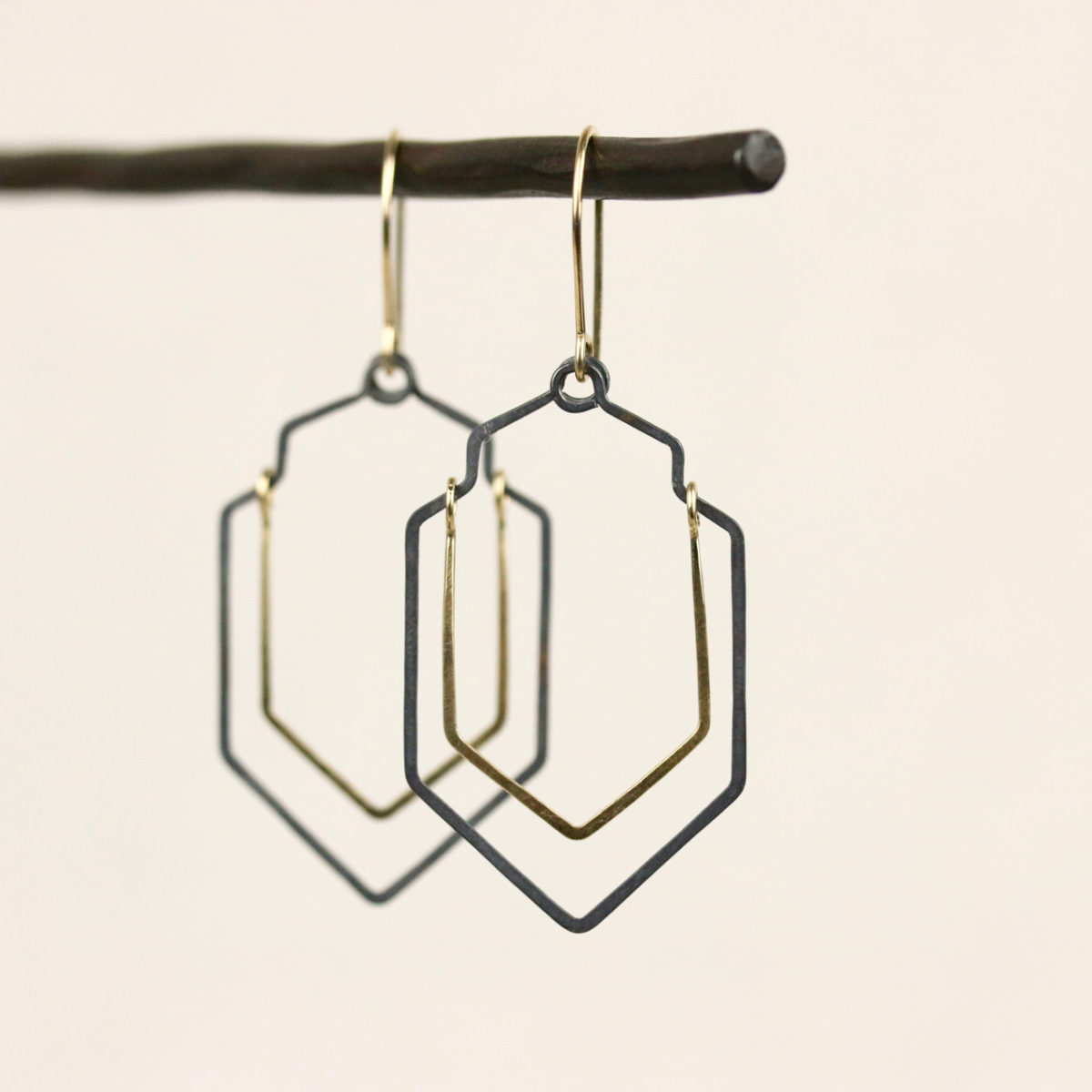 gold fill and oxidized sterling silver earrings view 2
