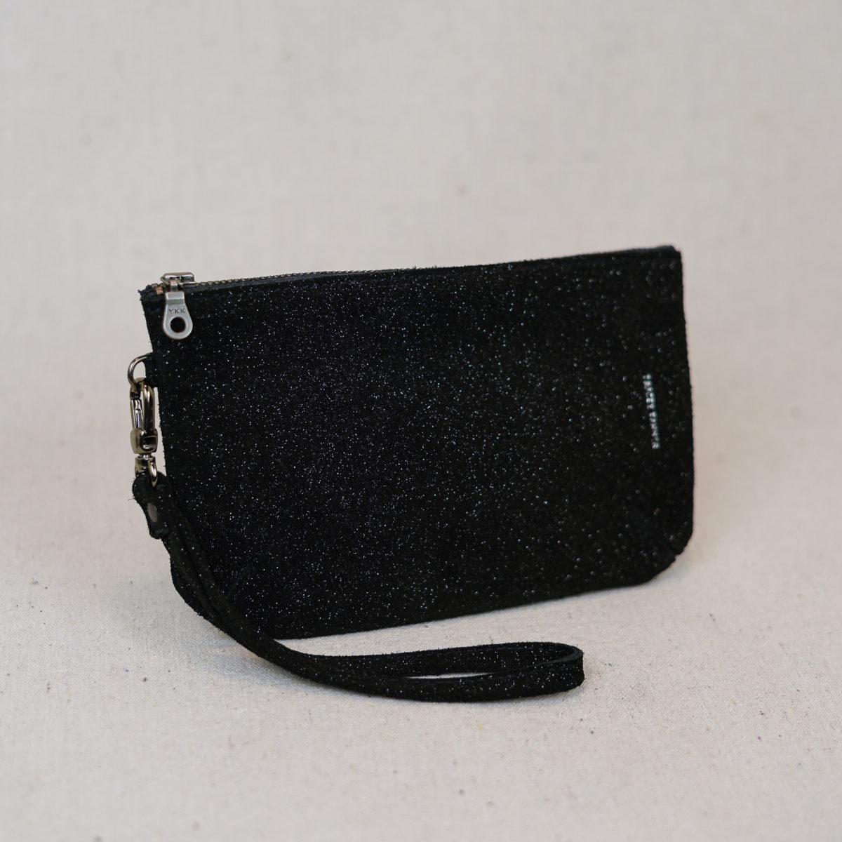 small-black-sparkle-leather-wristlet