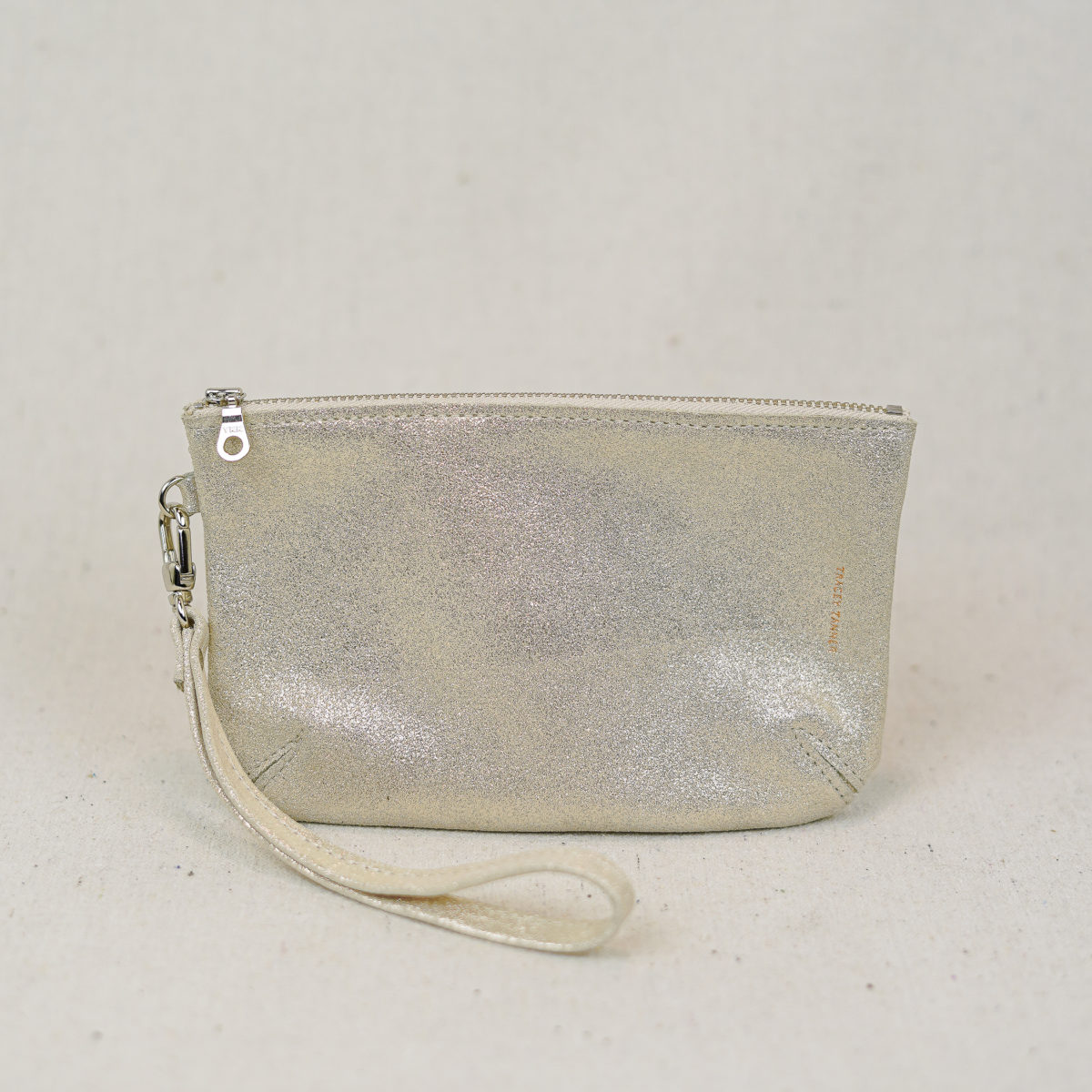 small-gold-sparkle-leather-wristlet