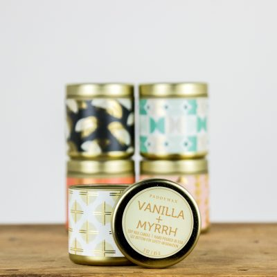 Vanilla and myrrh fragrance candle